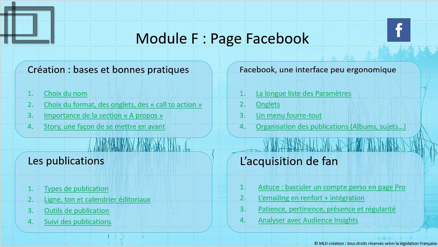 Un autre outil de promotion la Page Facebook : programme de la formation